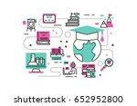 online degree line icons... | Shutterstock .eps vector #652952800