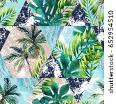 watercolor tropical leaves and... | Shutterstock . vector #652954510