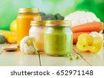 natural baby food concept  jars ... | Shutterstock . vector #652971148