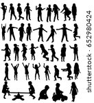 silhouette of children play ... | Shutterstock . vector #652980424