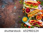 variety of delicious hot dogs... | Shutterstock . vector #652983124