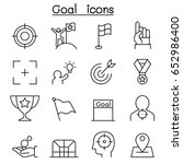 Goal Icon Set In Thin Line Style