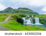 view of the kirkjufellsfoss... | Shutterstock . vector #653002336