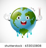poorly globe character scared... | Shutterstock .eps vector #653010808