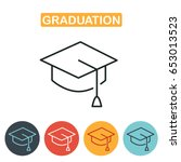 graduation cap line icon.... | Shutterstock .eps vector #653013523