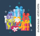 gift boxes  eps 8  no... | Shutterstock .eps vector #653014396