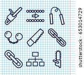 set of 9 chain outline icons... | Shutterstock .eps vector #653014729