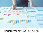 the businesswoman working the... | Shutterstock . vector #653016376