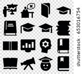 learning icons set. set of 16... | Shutterstock .eps vector #653016754
