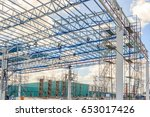 structure of steel roof frame... | Shutterstock . vector #653017426