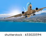 airplane taking off   travel by ... | Shutterstock . vector #653020594