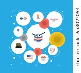 flat history  american banner ... | Shutterstock .eps vector #653022094