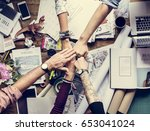 business colleagues together... | Shutterstock . vector #653041024