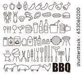 simple set of barbecue related... | Shutterstock .eps vector #653060200