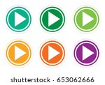 set of rounded colorful icons... | Shutterstock . vector #653062666