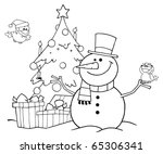 Outlined Friendly Snowman With...