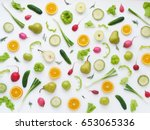 pattern of vegetables and... | Shutterstock . vector #653065336