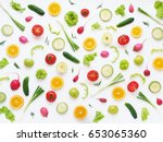 pattern of vegetables and... | Shutterstock . vector #653065360