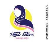 hijab logo with text space for... | Shutterstock .eps vector #653065573