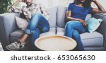 young displeased black couple... | Shutterstock . vector #653065630
