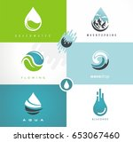 water drops and swirls symbols... | Shutterstock .eps vector #653067460