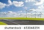 wind turbines in landscape... | Shutterstock . vector #653068354