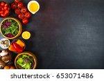 vegetables for dietary catering ...   Shutterstock . vector #653071486