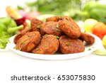 homemade cutlets with fresh... | Shutterstock . vector #653075830