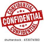 confidential round red grunge... | Shutterstock .eps vector #653076583