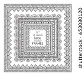 vector set of sketch lace... | Shutterstock .eps vector #653080120