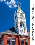 Small photo of BORDENTOWN, NEW JERSEY - SEPTEMBER 3 - The old clock tower, dedicated to William F. Allen, designer of Standard Time on September 3 2010 in New Jersey.