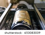 golden letterpress cylinders... | Shutterstock . vector #653083039