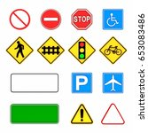 image of various road signs... | Shutterstock . vector #653083486