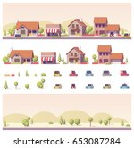 vector low poly 2d buildings... | Shutterstock .eps vector #653087284