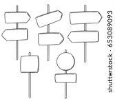 vector set of direction post | Shutterstock .eps vector #653089093