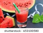 watermelon smoothie | Shutterstock . vector #653100580