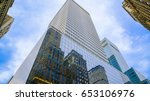 skyscrapers with blue glass... | Shutterstock . vector #653106976
