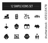 set of 12 editable kin icons....