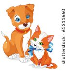 Stock vector a cute cartoon dog and cat puppy and kitten being friends clipart vector illustration 65311660