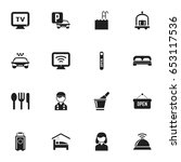 set of 16 editable plaza icons. ...