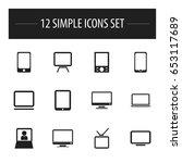 set of 12 editable gadget icons....