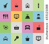 set of 16 editable travel icons.... | Shutterstock .eps vector #653121088