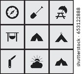 set of 9 editable camping icons.... | Shutterstock .eps vector #653122888