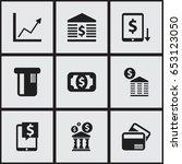 set of 9 editable financial...
