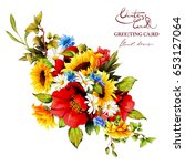 vintage bouquet of sunflower... | Shutterstock .eps vector #653127064
