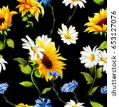 seamless pattern of sunflowers  ... | Shutterstock .eps vector #653127076