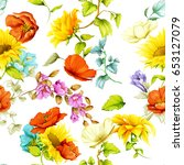 seamless pattern of sunflowers... | Shutterstock .eps vector #653127079