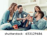 young friends having a great... | Shutterstock . vector #653129686