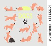 vector dog set. collection of... | Shutterstock .eps vector #653132104