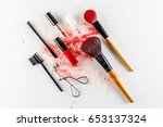 make up artist cosmetics tools... | Shutterstock . vector #653137324